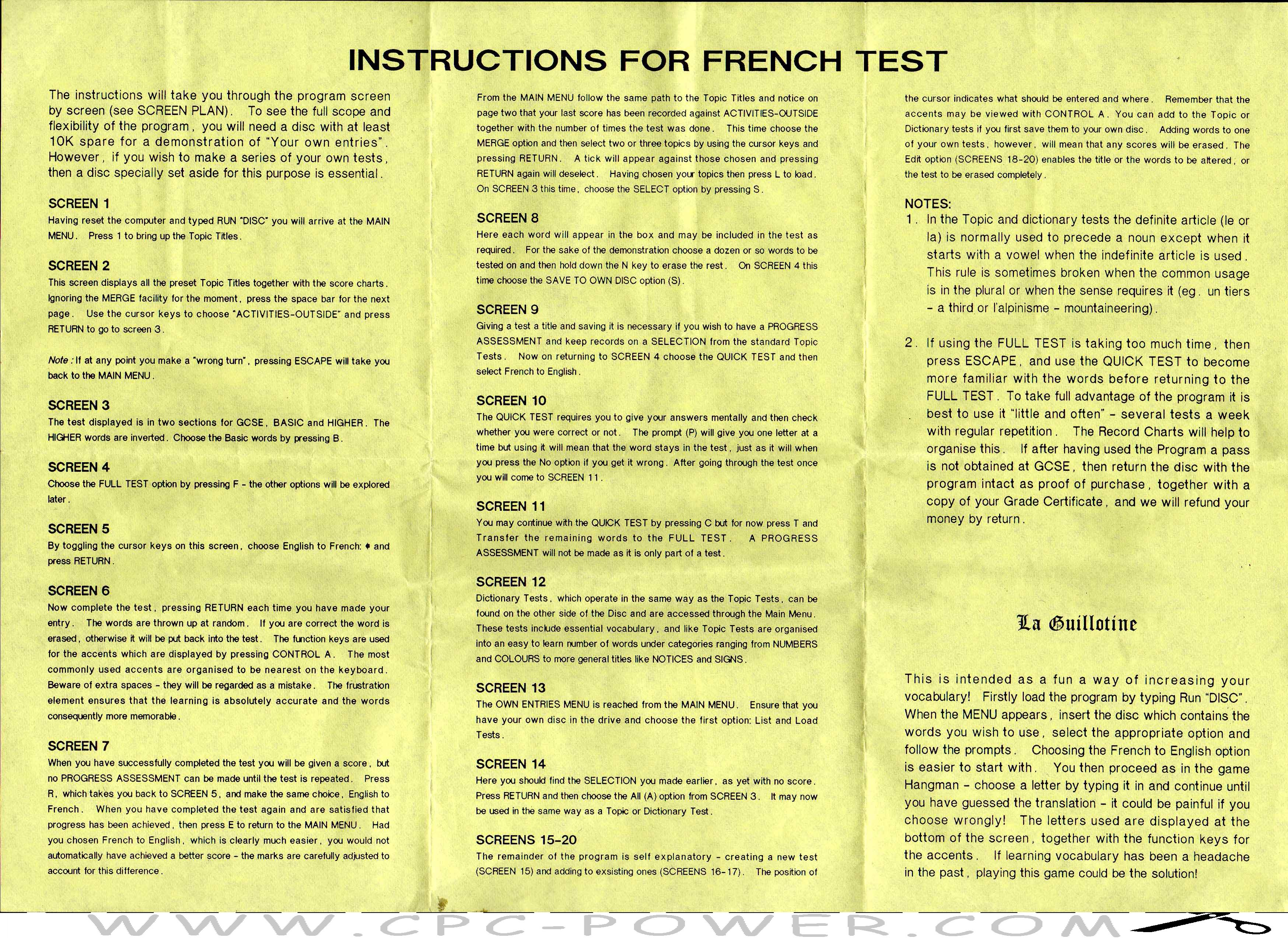 french test gmf programs 1990